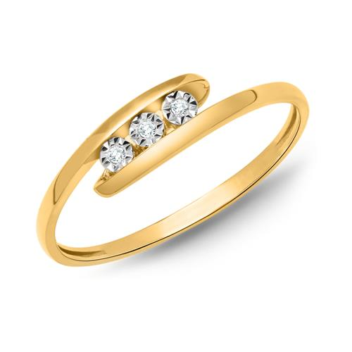 Ring 585er Gelbgold 3 Diamanten 0,018 ct.