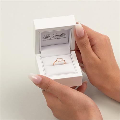 Ring 750er Rotgold Herz 22 Diamanten 0,11 ct.