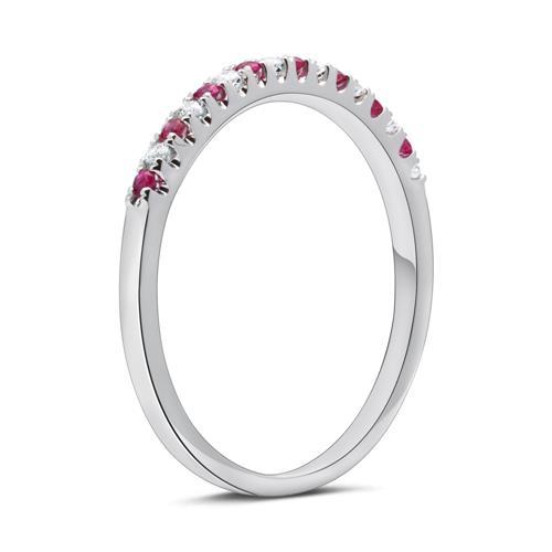 Weißgold-Ring 8 Diamanten 0,08 ct. 8 Rubinen