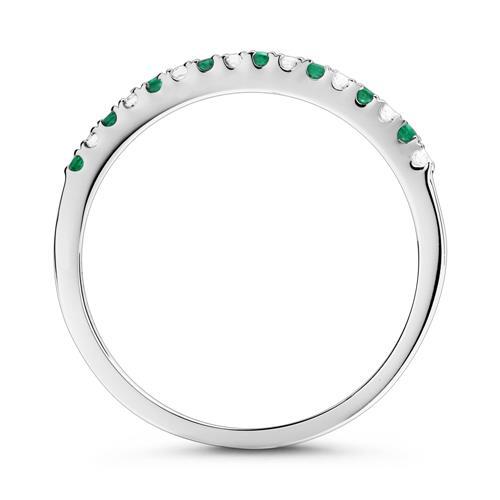 Weißgold-Ring 8 Diamanten 0,07 ct. 8 Smaragden