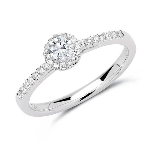 950er Platin Halo-Ring mit Diamanten