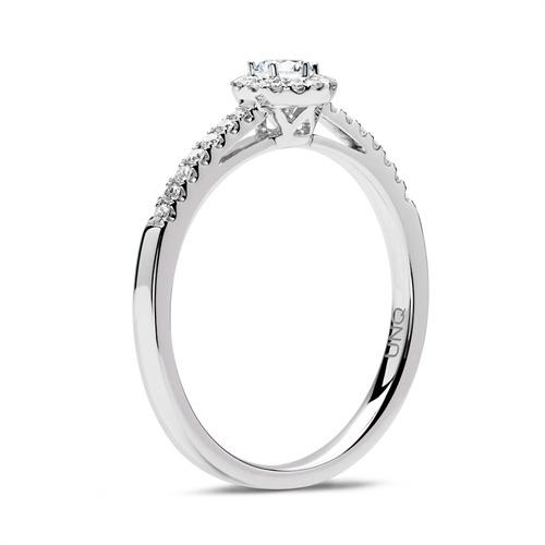 585er Weißgold Halo-Ring mit Diamanten