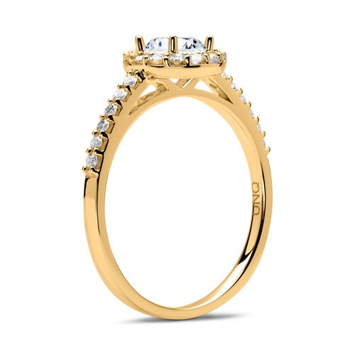 585er Gold Verlobungsring mit Diamanten