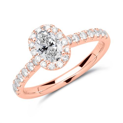 750er Roségold Verlobungsring mit Diamanten