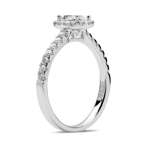 585er Weißgold Verlobungsring mit Diamanten
