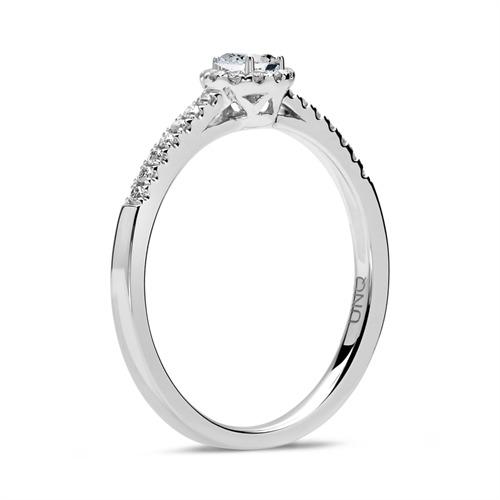 750er Weißgold Halo Ring Tropfen Diamanten