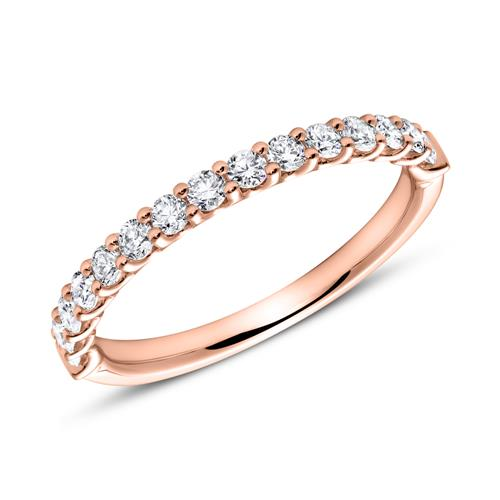 14K Roségold Eternity Ring 15 Diamanten