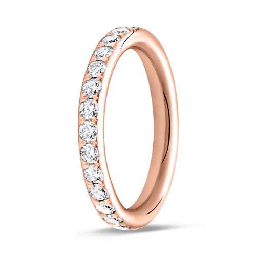 585er Roségold Memoire Ring 28 Diamanten