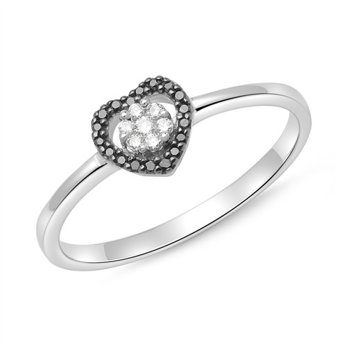 585er Weißgold Ring 18 schwarze und 7 weiße Diamanten