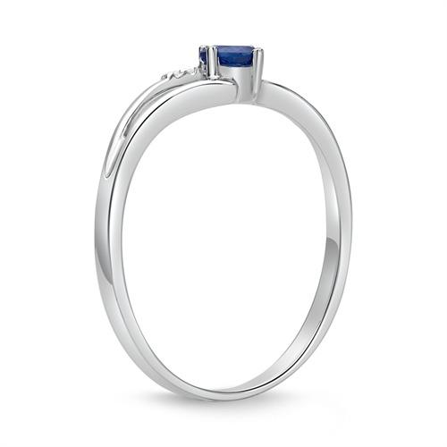 585er Weißgold Ring mit 5 Diamanten und Saphir