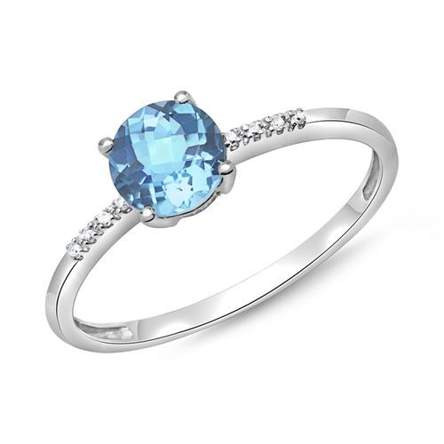 Blautopas Ring 585er Weißgold 8 Diamanten