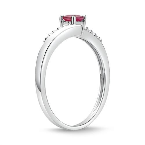 585er Weißgold Ring Rubin und 10 Diamanten
