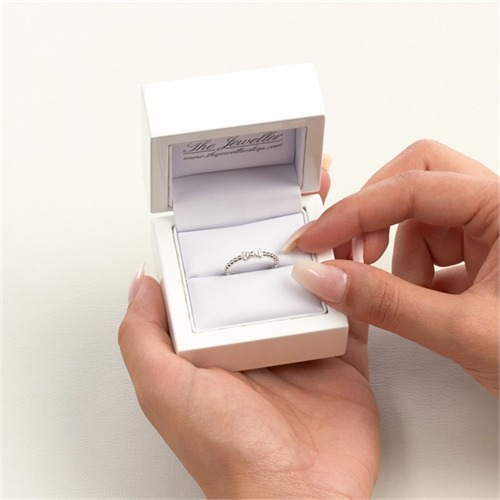 750er Weißgold Ring Schleife 6 Diamanten