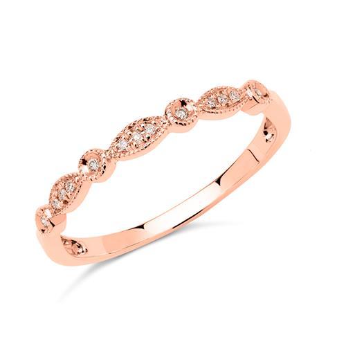 585er Roségold Ring 13 Diamanten gravierbar
