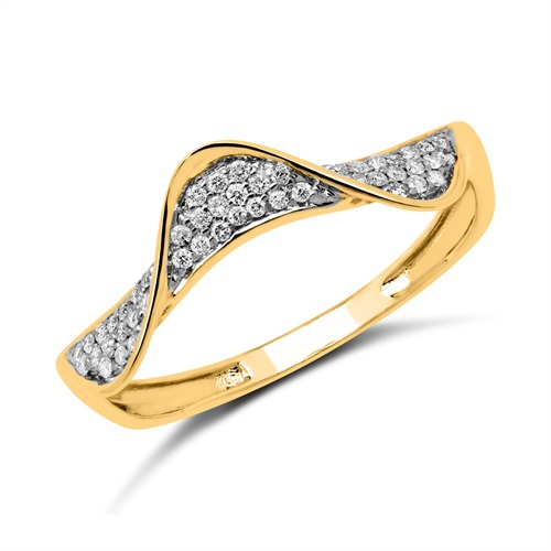 14K Gold Ring mit 48 Diamanten