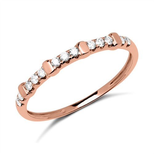 585er Roségold Ring mit 13 Diamanten