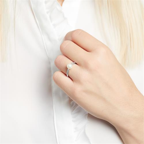 Ring 14K Weißgold Diamanten Süßwasserperle