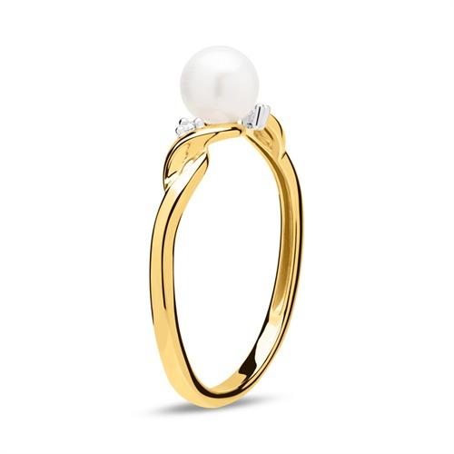 585er Goldring mit Süßwasserperle und Diamanten