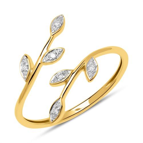585er Goldring im Blattdesign mit Diamanten