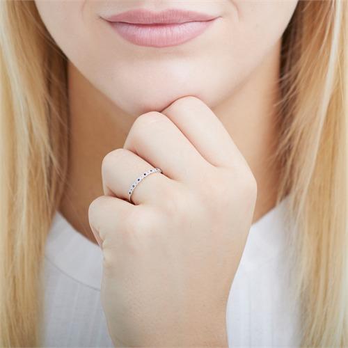 585er Weißgold Ring mit Saphiren und Weißtopasen