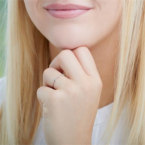 14K Weißgold Ring mit Saphiren und Weißtopas