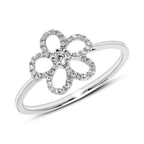 Ring Blüte aus 585er Weißgold mit Diamanten