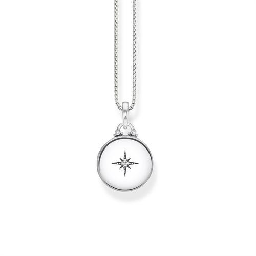 Kette mit Medaillon aus 925er Silber mit Diamanten