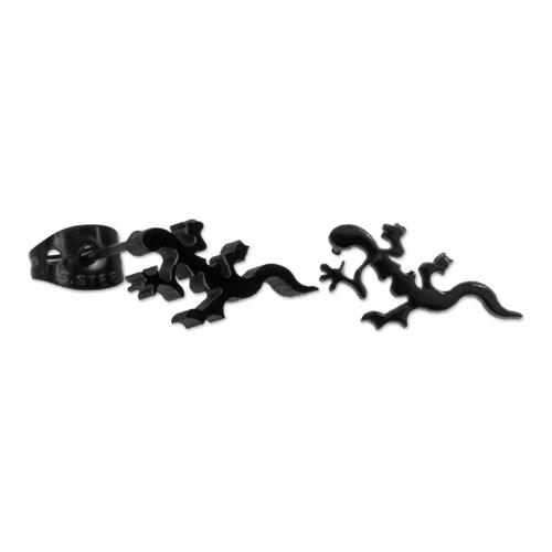 Ohrringe - Schwarze Salamander Ohrstecker aus Edelstahl  - Onlineshop The Jeweller