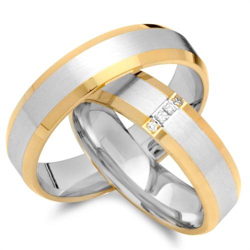 Trauringe 333er Gelb- Weissgold 4 Diamanten