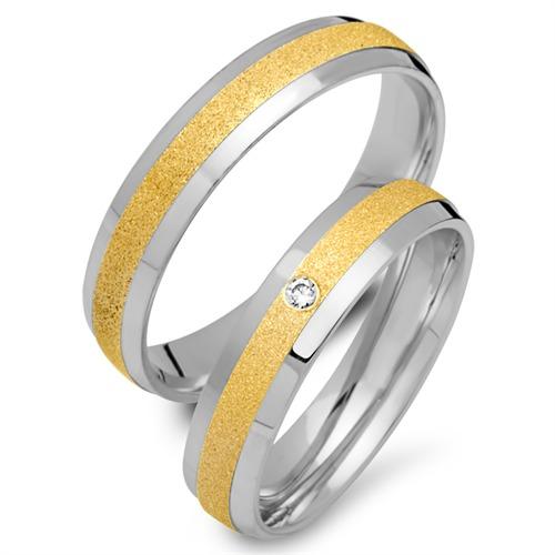 Trauringe 750er Gelb- Weissgold mit Diamant