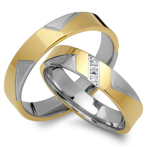 Eheringe 750er Gelb- Weissgold 3 Diamanten