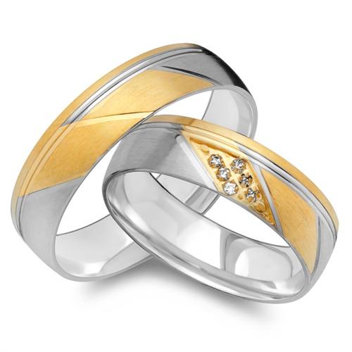 Eheringe 585er Gelb- Weissgold 6 Diamanten