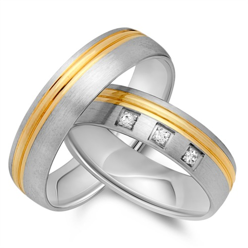 Ringe - Eheringe 585er Gelb Weissgold 3 Brillanten  - Onlineshop The Jeweller