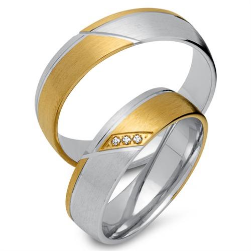 Eheringe 585er Gelb- Weissgold 3 Diamanten EHE0238-5s - Ringe-Kaufen ...
