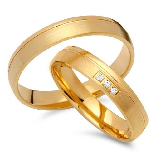 Eheringe gold mit 3 diamanten  Eheringe 585er Gelbgold 3 Diamanten EHE0254-5s