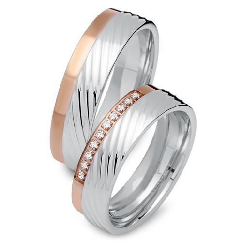 Eheringe 585er Rot- Weissgold 10 Diamanten