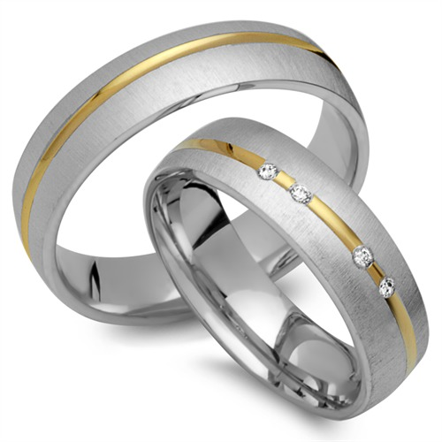 Eheringe 333er Gelb- Weissgold 4 Diamanten