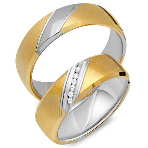 Eheringe 333er Gelb- Weissgold 18 Diamanten
