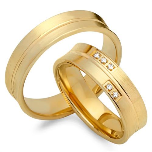 Trauringe 585er Gelbgold 5 Diamanten