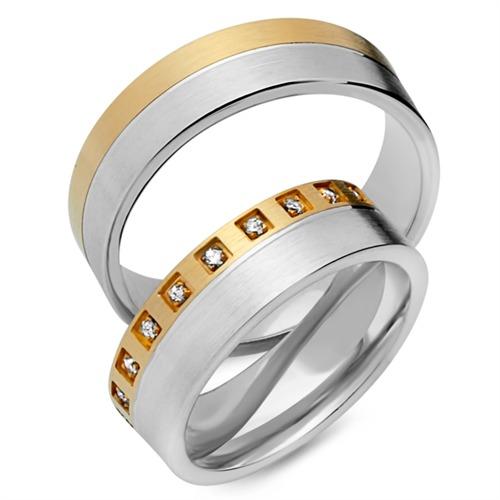 Trauringe 333er Gelb- Weissgold 20 Diamanten