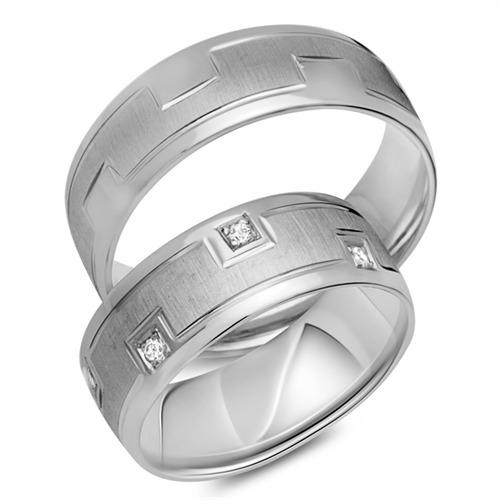 Trauringe 585er Weissgold 8 Diamanten