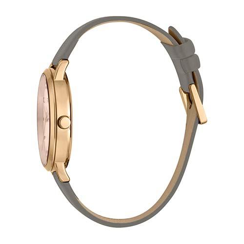 Uhr Fun Rosegold Grey für Damen mit Lederband