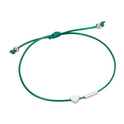 Herzarmband aus grünem Textil mit 925er Silber Herz