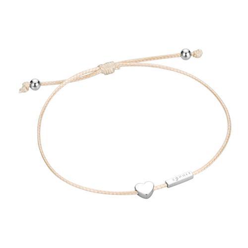 Beiges Textil Armband mit Herz aus 925er Silber