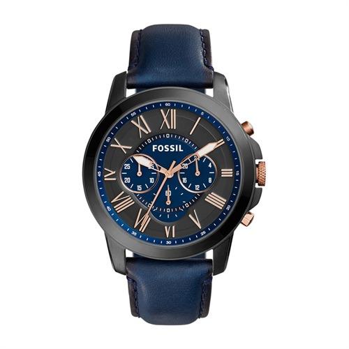 Herren Chronograph Grant Leder Blau