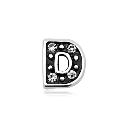 Buchstaben Charm D 925er Silber mit Zirkonia