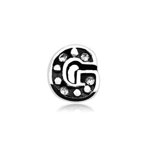 Buchstaben Charm G 925er Silber mit Zirkonia