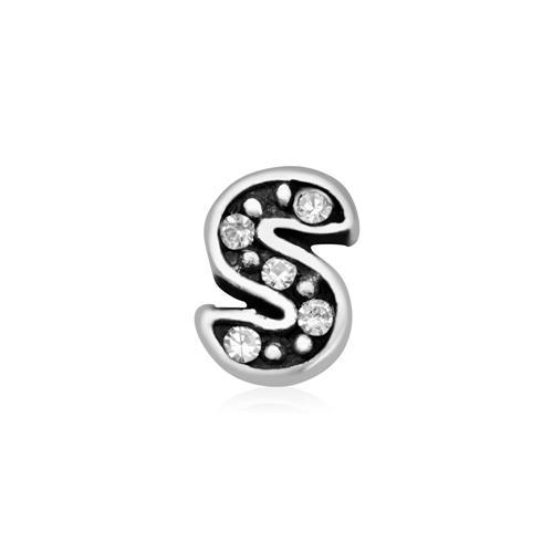 925er Silber Buchstaben Charm S mit Zirkonia