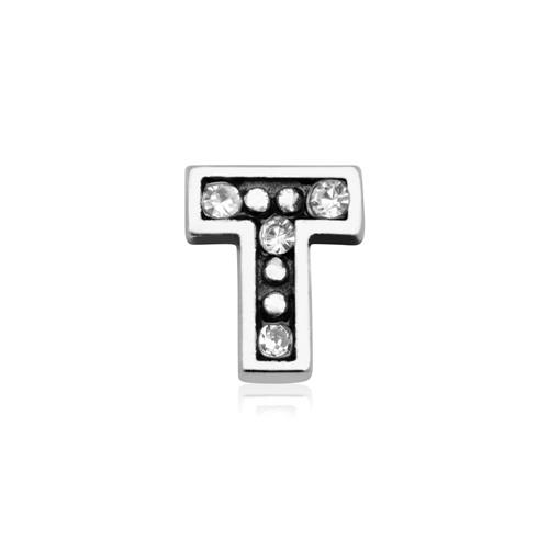 925er Silber Buchstaben Charm T mit Zirkonia