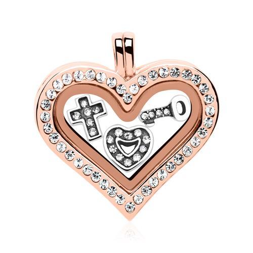 Set Herz Medaillon Charms Silber rosé FSS0003